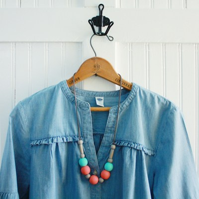 DIY Wood Bead Necklace Modern Upcycle
