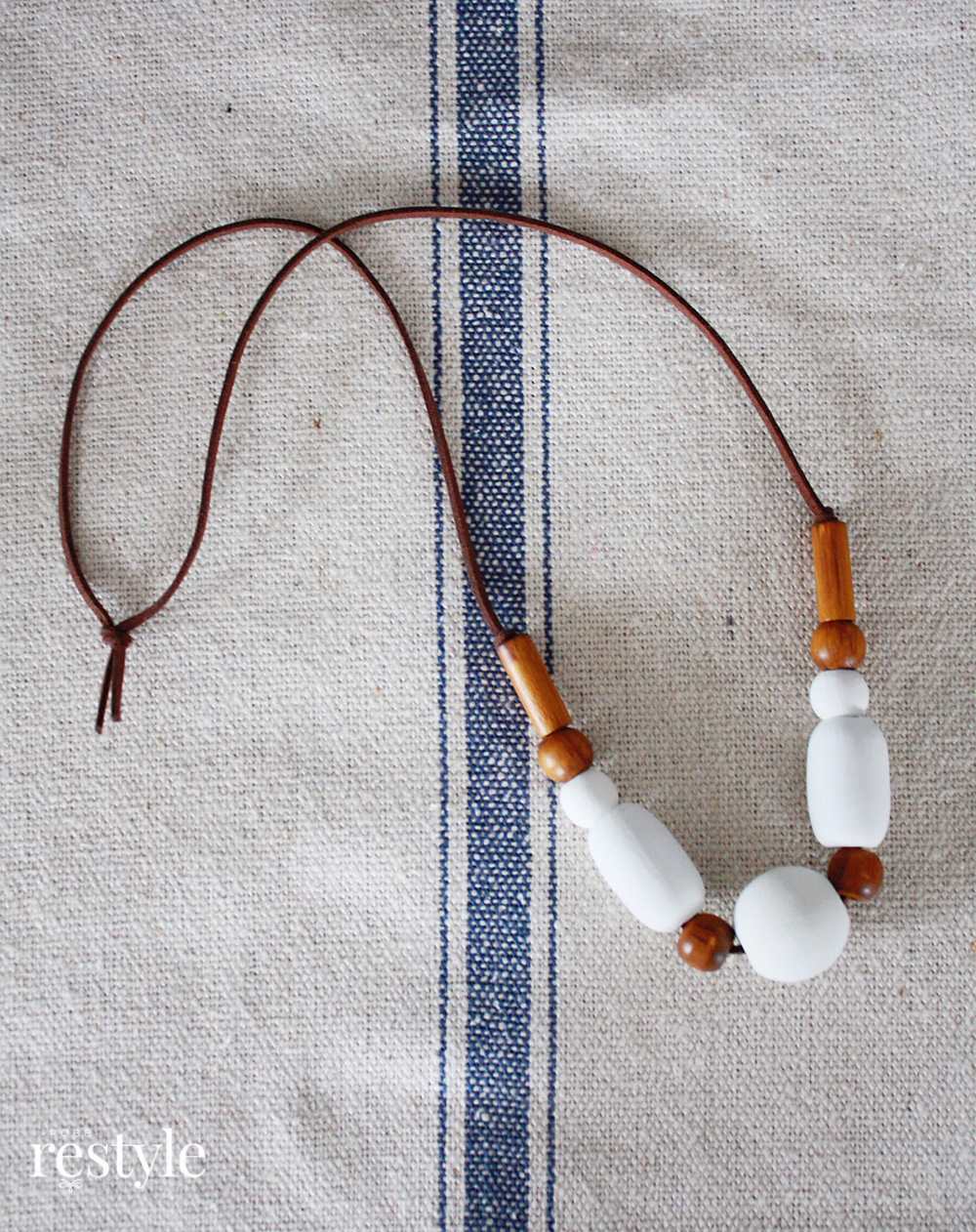 Natural Bead Necklace Modern Upcycle