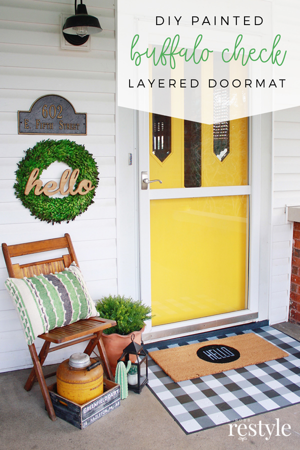Diy Painted Buffalo Check Layered Doormat Robb Restyle