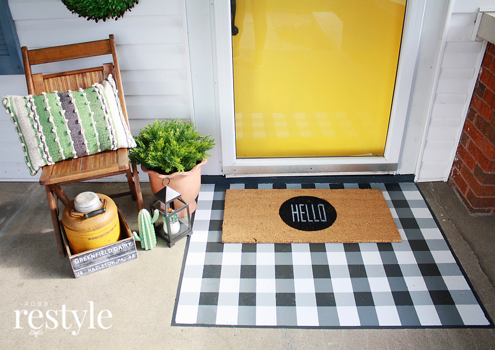 DIY Buffalo Check Painted Doormat Tips