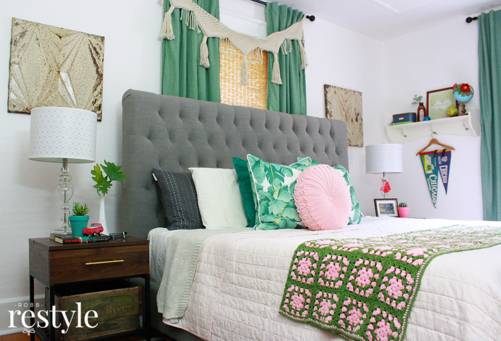 Pink & Green Boho Bedroom Makeover | Robb Restyle