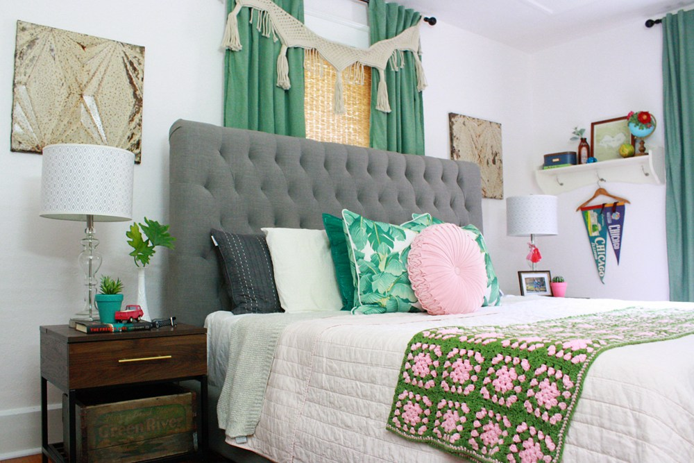 Pink and Green Boho Bedroom Inspired by Vintage Heirlooms