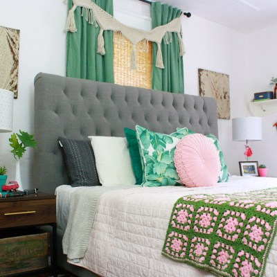 Pink & Green Boho Bedroom Makeover