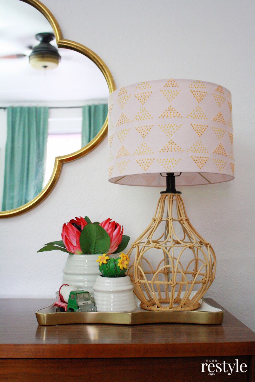 Boho Bedroom Makeover in Pink and Green