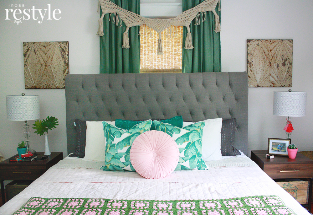 Pink Green Boho Style Bedroom Makeover
