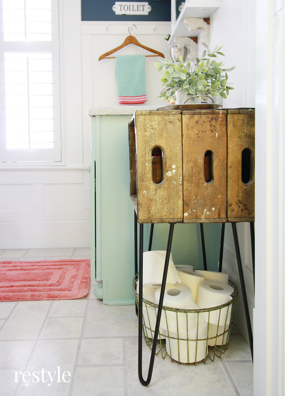 Vintage Crate with Hairpin Legs for Bathroom Storage