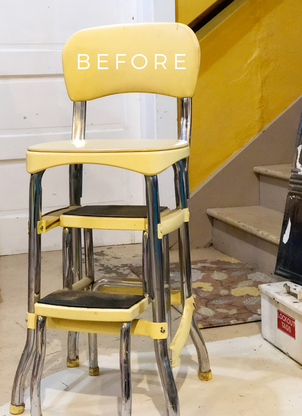 Marvelous Diy Vinyl Step Stool Makeover With A Heat Gun Robb Restyle Machost Co Dining Chair Design Ideas Machostcouk