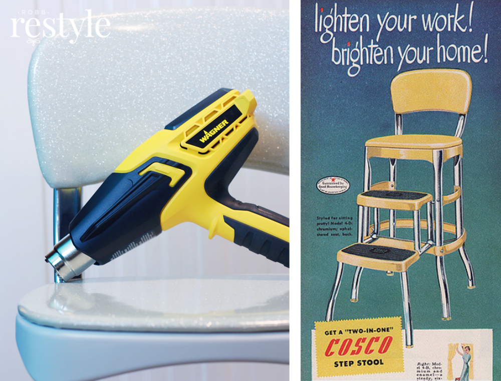 Vinyl Step Stool Makeover Made Easy with Heat Gun