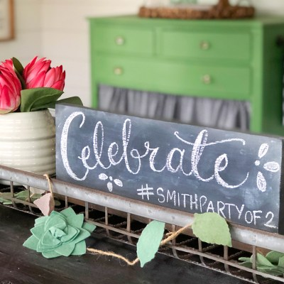 Easy Tabletop Chalkboard Sign for Celebrations