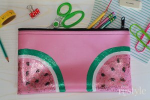 diy watermelon pencil pouch