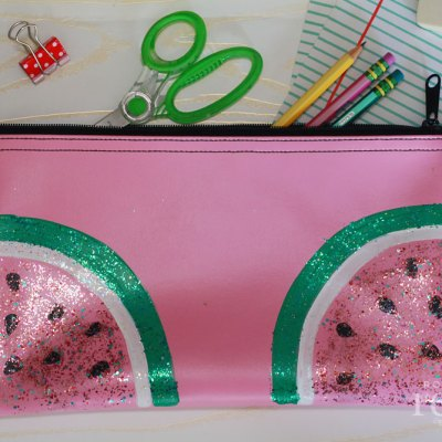DIY Glitter Fruit Pencil Pouch