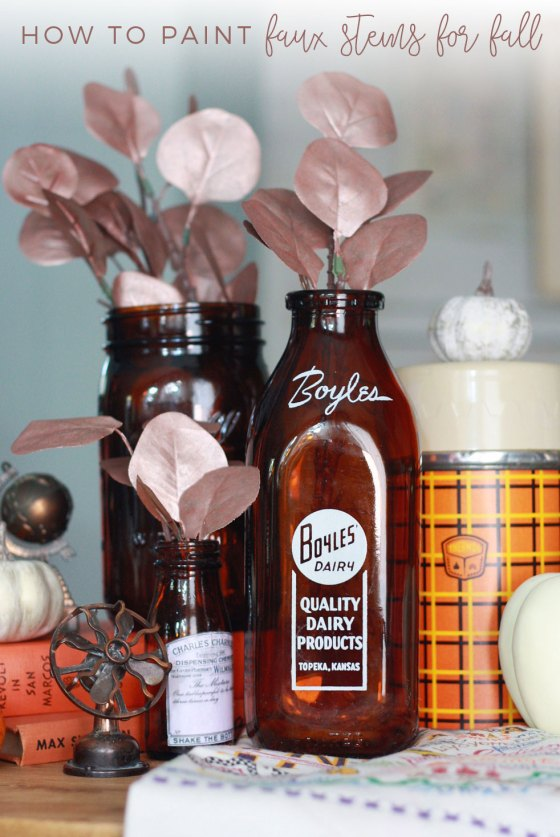 Rose gold and amber glass fall decor