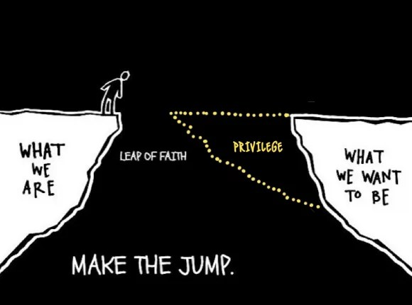 Revised image showing how privilege makes a leap of faith a lot easier
