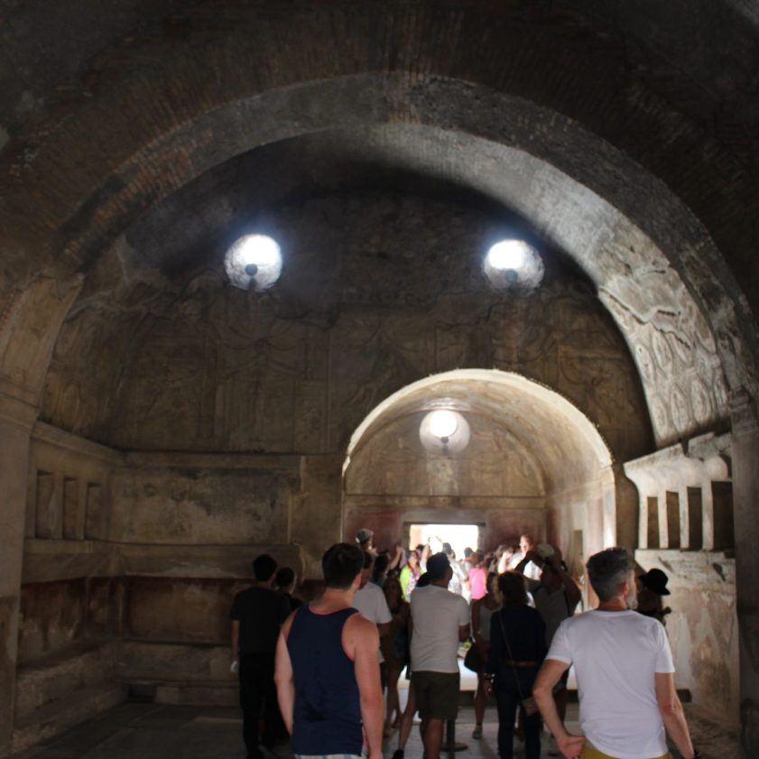 From inside the public baths