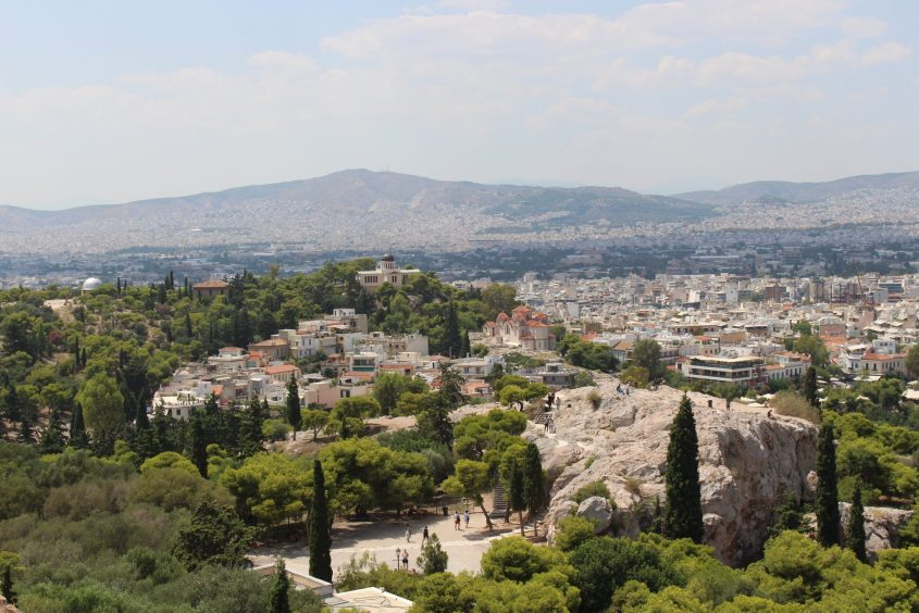 The neighborhoods of Athens from atop the Acropolis