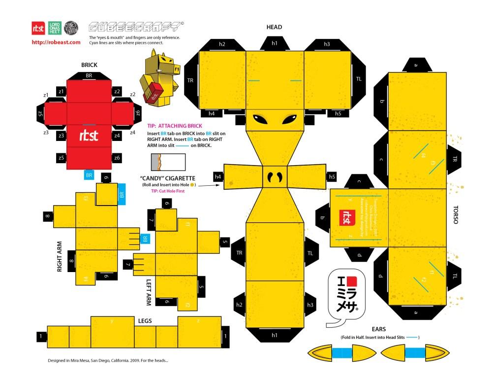 Papercraft: RBST x Cubeecraft Quasimoto (Lord on a Sheet) (3/3)
