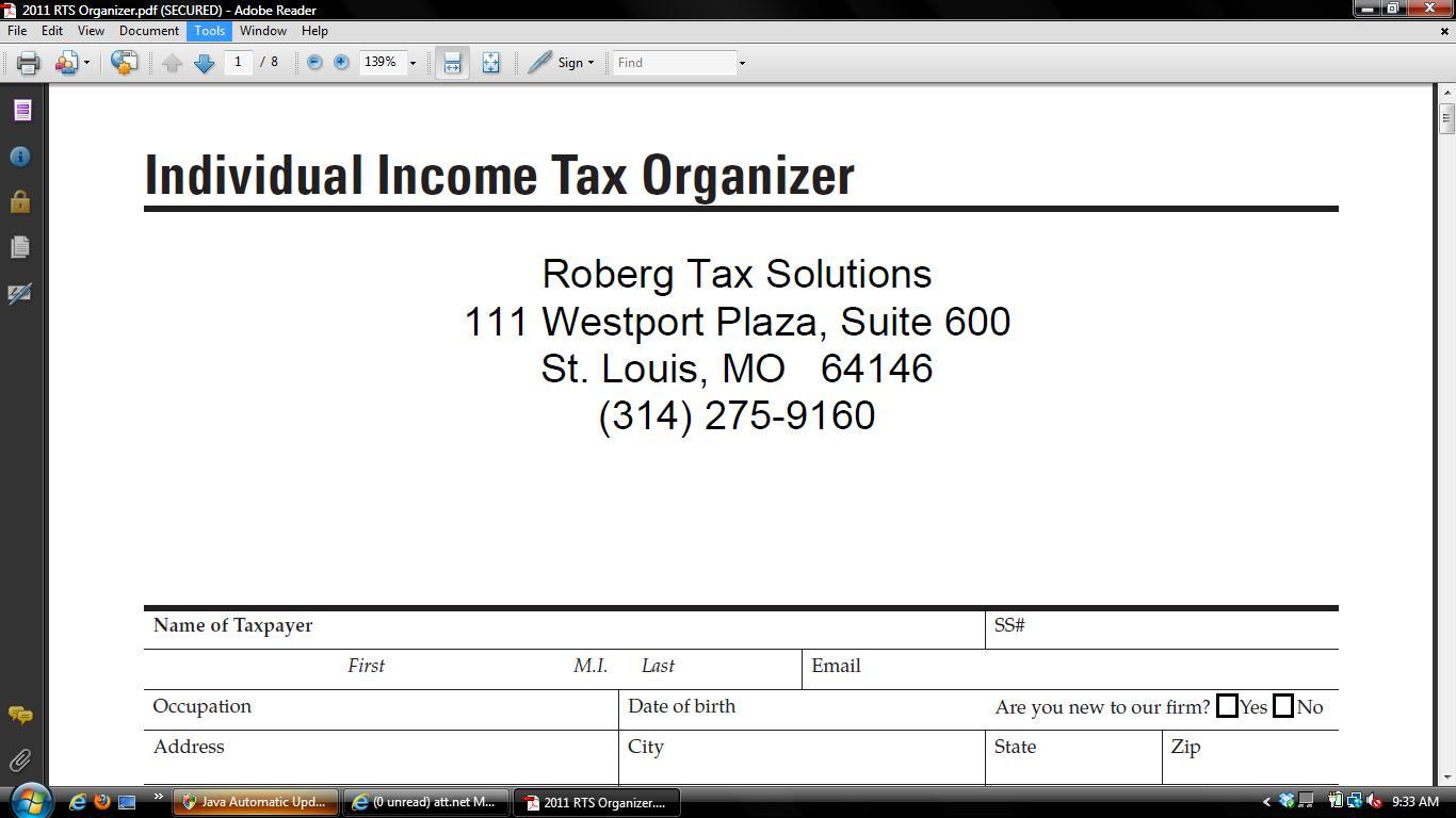 Income Tax Organizer