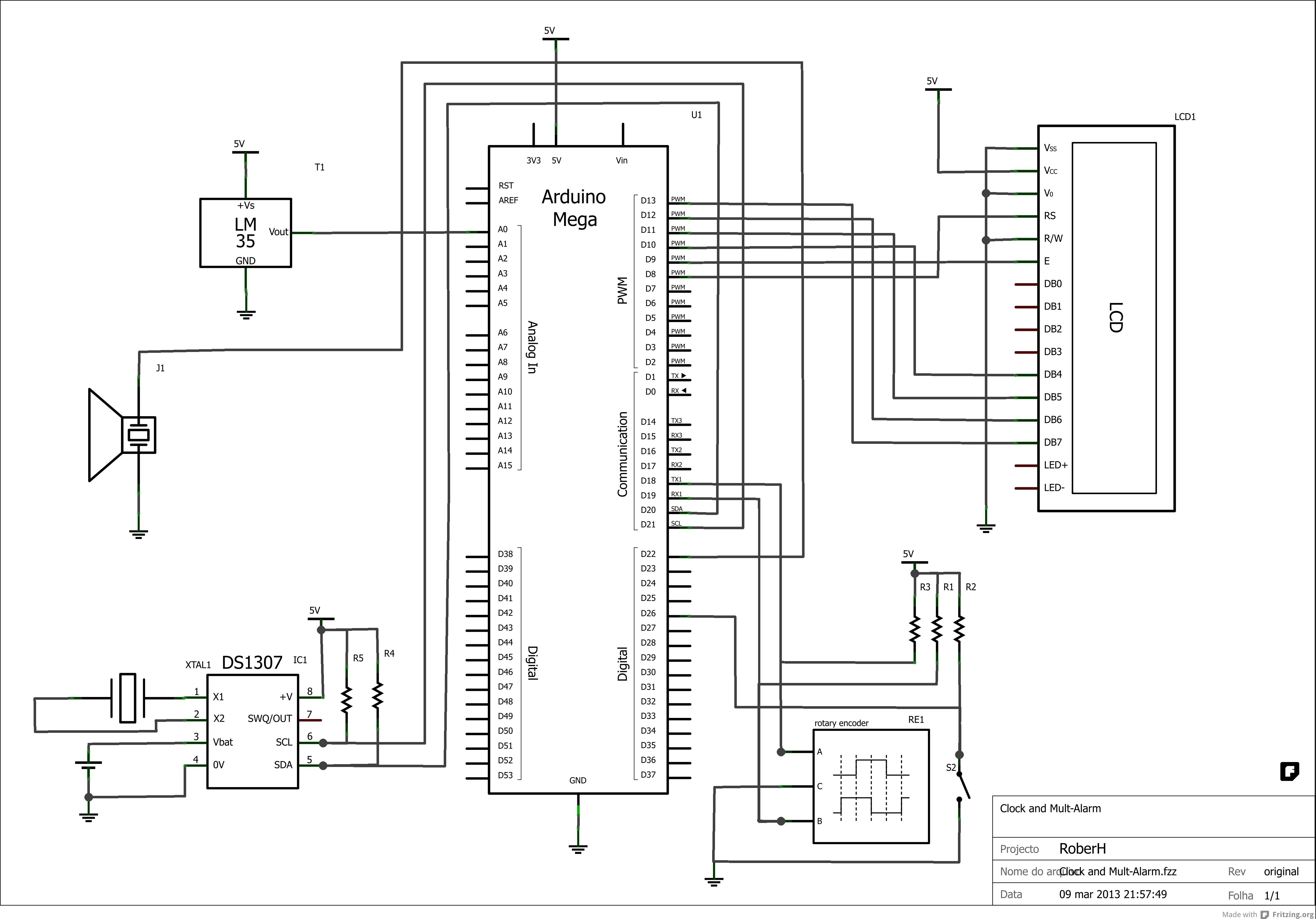 Arduino Mega Lcd Rtc Alarm Clock Encoder