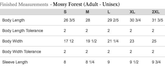 Sizing Chart for Adult Unisex