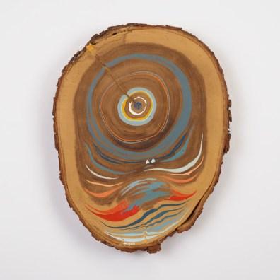 ~28 in. round. Acrylic on Monkeypod