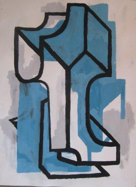 """Robert Egert, Forms #7, tempera on paper, approx. 27"""" x 32"""", 2011-2012"""