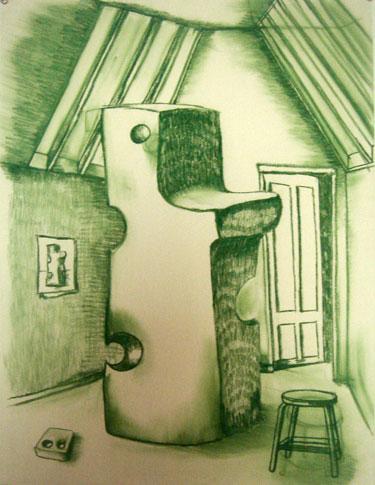 """Robert Egert, Unbuilt: Cheese Conté on paper, 23"""" x 32"""", 2008"""