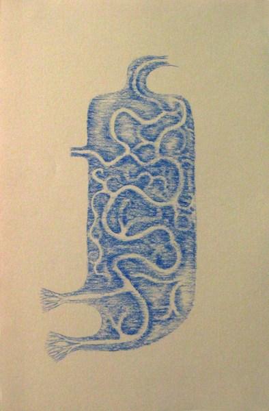 "Robert Egert, Vessel, 2012, blue conté on printmaking paper, 11"" x 17"" LIC studio August 2012"