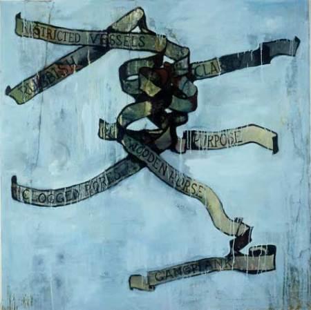 """Knot; oil on canvas, approx. 56"""" x 48"""" circa 1986, Robert Egert"""