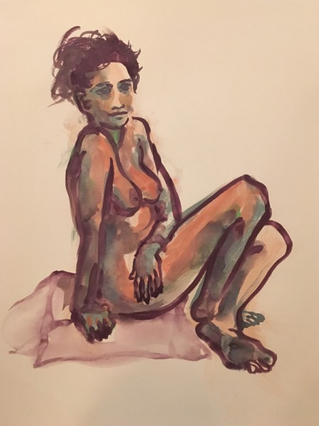 """Figure drawing of a nude seated woman with her hair tied up and twisting, seated on a square cushion, painted in gouache on watercolor paper, measuring 18"""" x 24"""" by Robert Egert in July, 2017"""