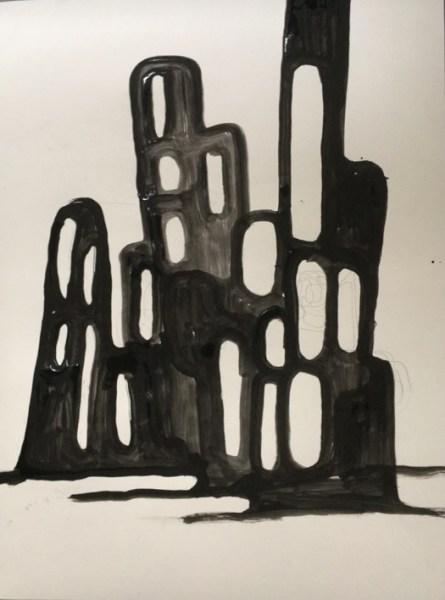 "Lower East Side 1979 Tempera on paper by robert egert, 18"" x 24"", 2017"