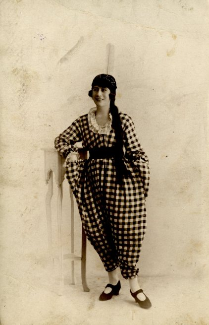 Unidentified female Music Hall performer in clown outfit, c. 1905.