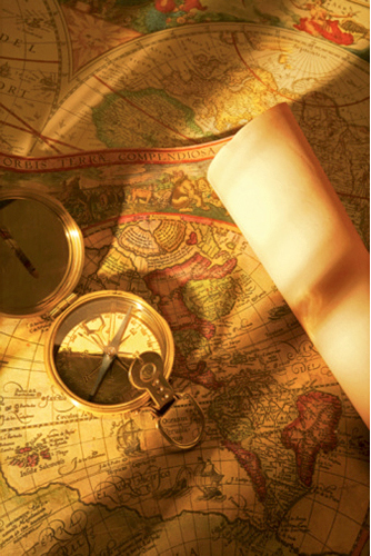 antique maps, compass