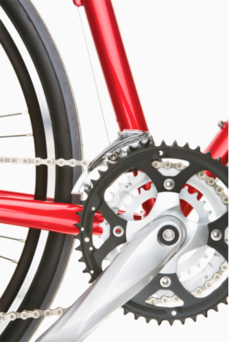 bicycle sprocket, chain, close-up