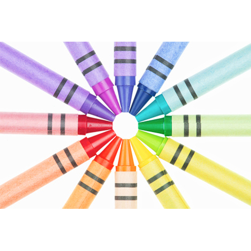 coloured crayon, colour wheel