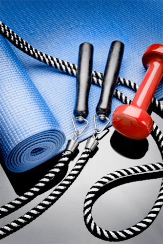 skipping rope, yoga mat, dumbell