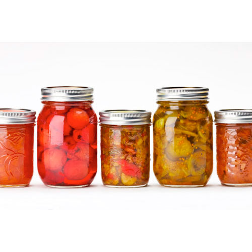 Home Canning - jars in a line