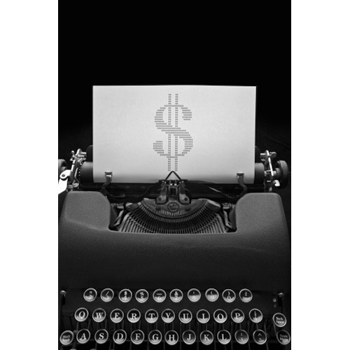 antique typewriter, dollar sign