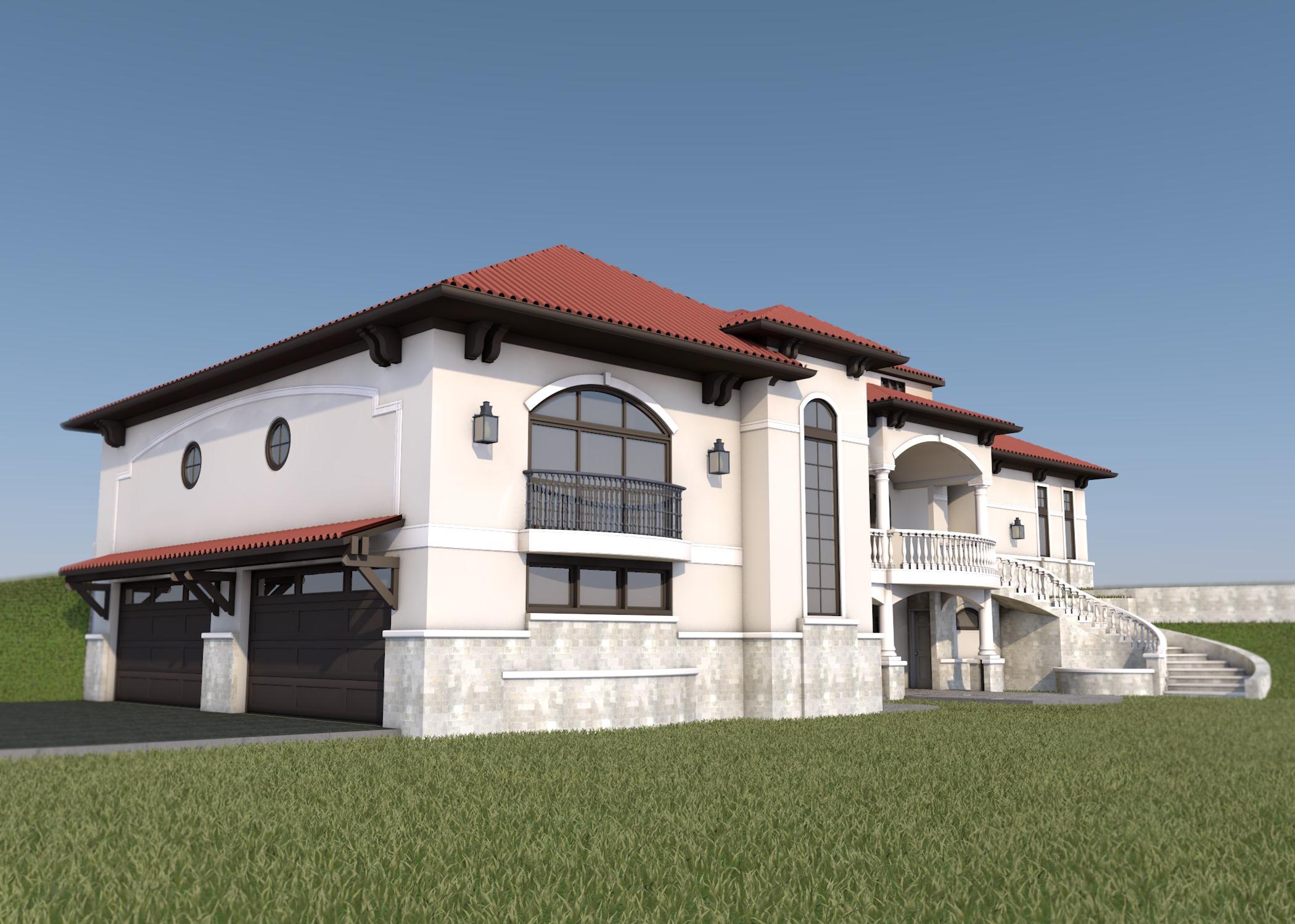 Mediterranean Style - House Design - Mediterranean Residential Design 3D render