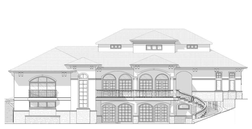Mediterranean House Rear Elevation