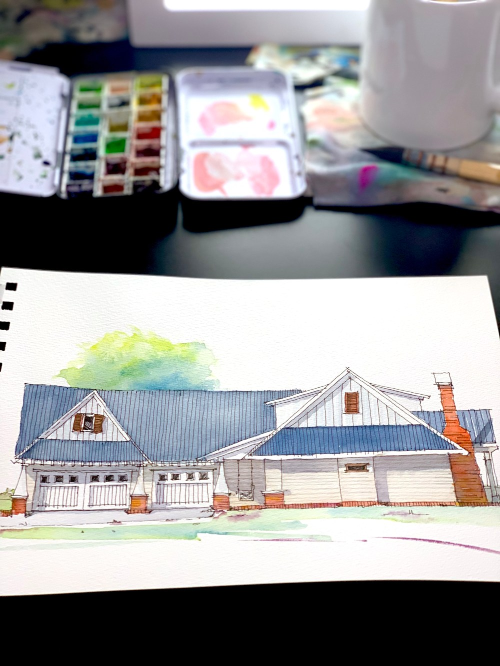 Farmhouse Sketch Art