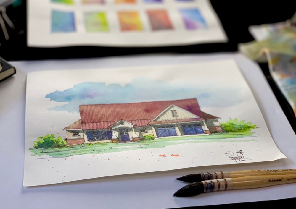 Farmhouse Watercolor Sketch Art