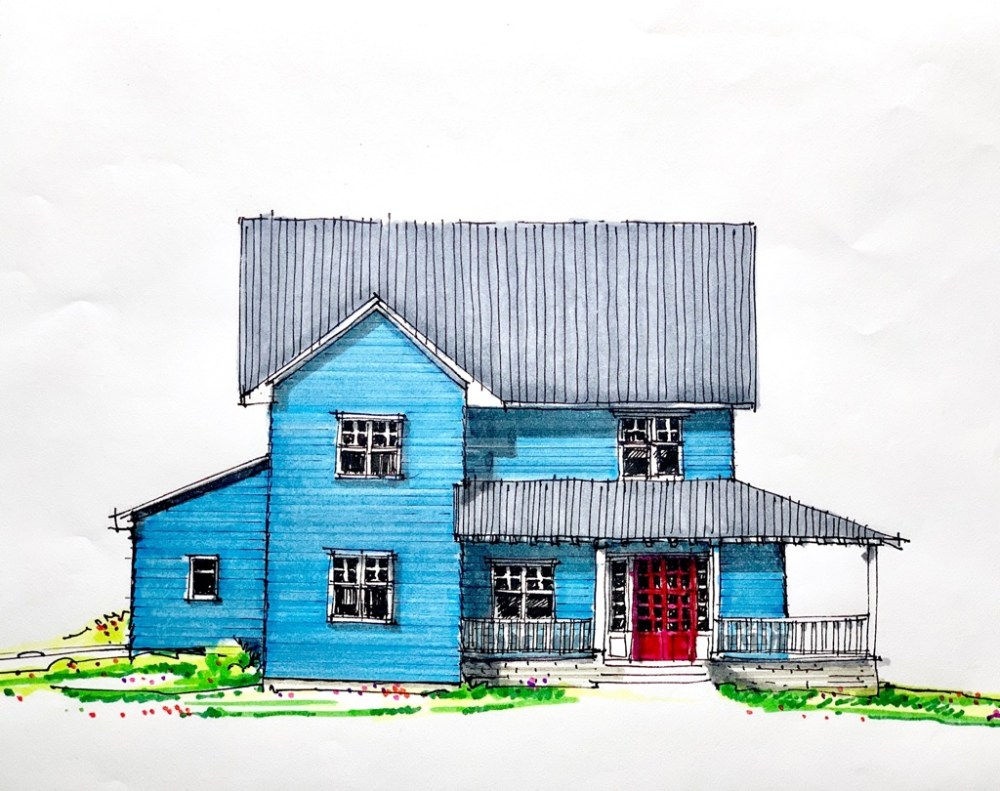 Golf Club House - Sketches Farmhouse Front Elevation Sketch