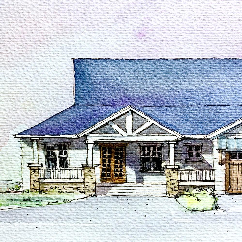 Designing a Farmhouse - Watercolor Sketch Entrance Close Up