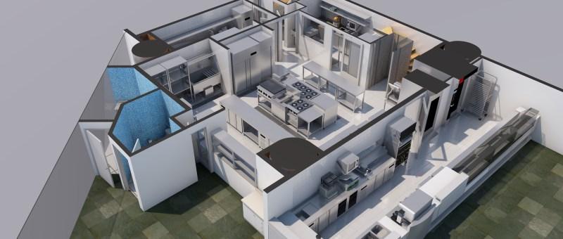 Diseño de cocina para restaurant, Bakery, panadería, 3D Render