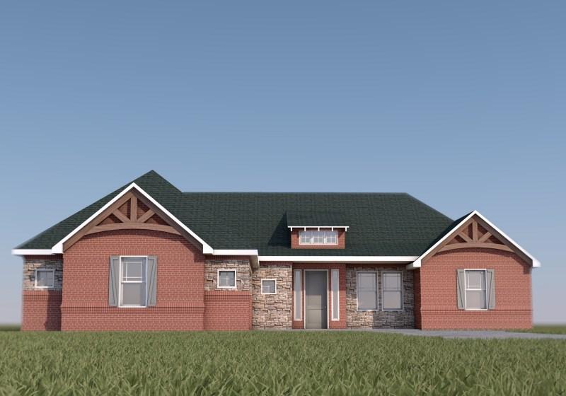 Smith House - Custom Design Brick Farmhouse Front 3D Render