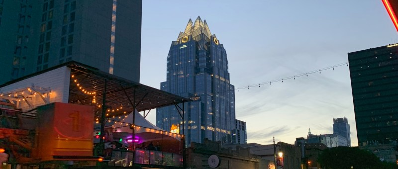 Austin Texas Downtown sunset Frost bank tower from 6th street