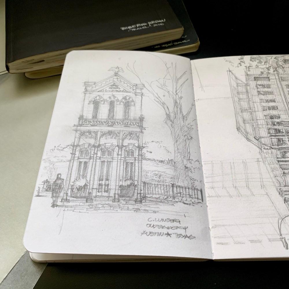 Sketching Old Bakery Sketchbook pencil sketch building