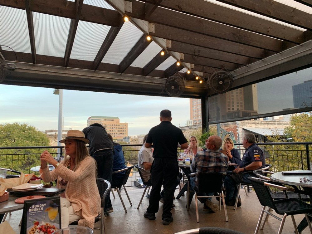 Sunset in Austin on 6th street restaurant terrace