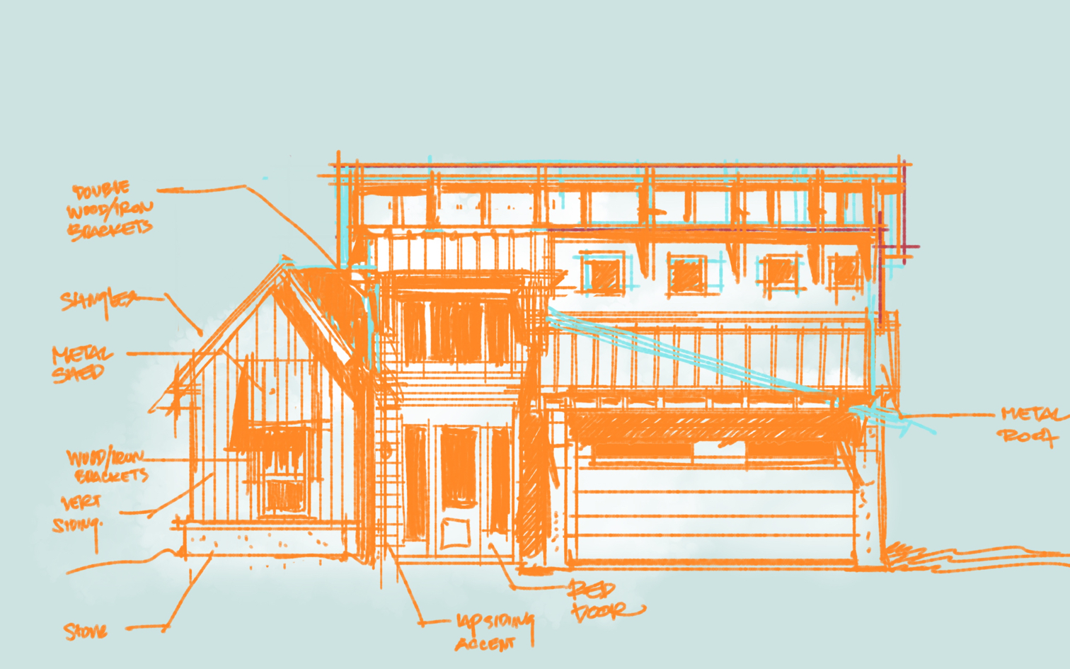 Rustic House Elevation Sketch