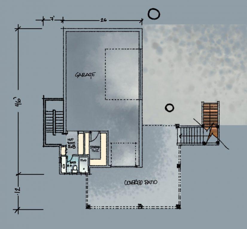 Lakehouse Basement Plan Sketch